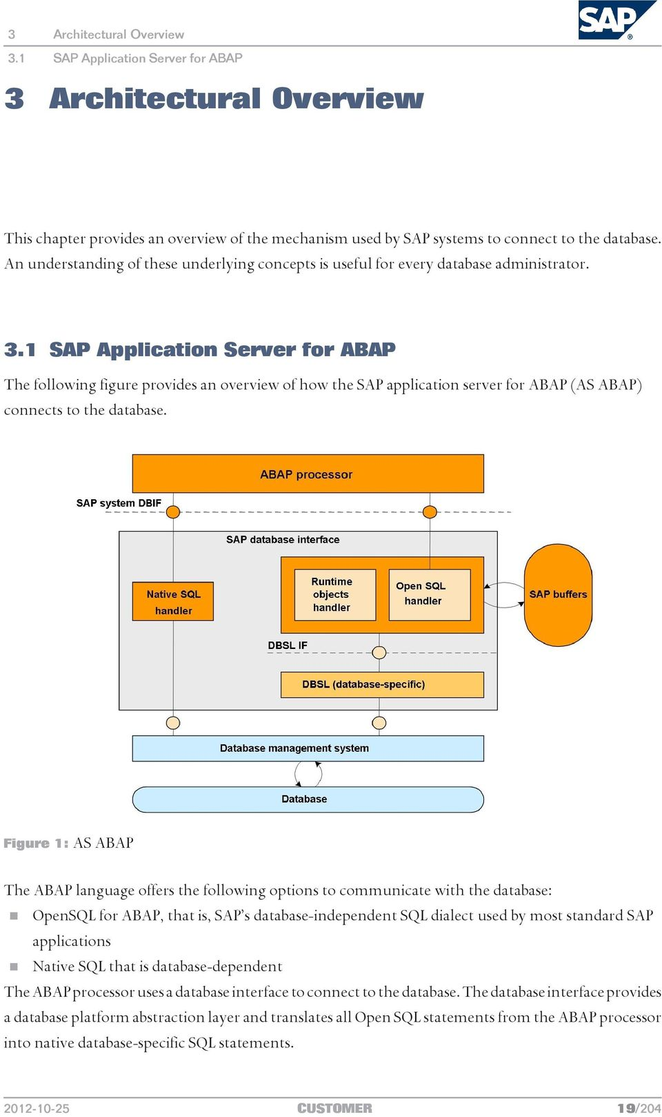 1 SAP Application Server for ABAP The following figure provides an overview of how the SAP application server for ABAP (AS ABAP) connects to the database.