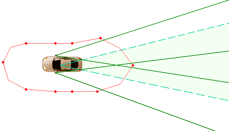 Vehicle Space Demonstration Diagram 2 Mirror View Areas and Blind Spots Two or three students will need to assist in this exercise. One student should be seated behind the wheel of the vehicle.