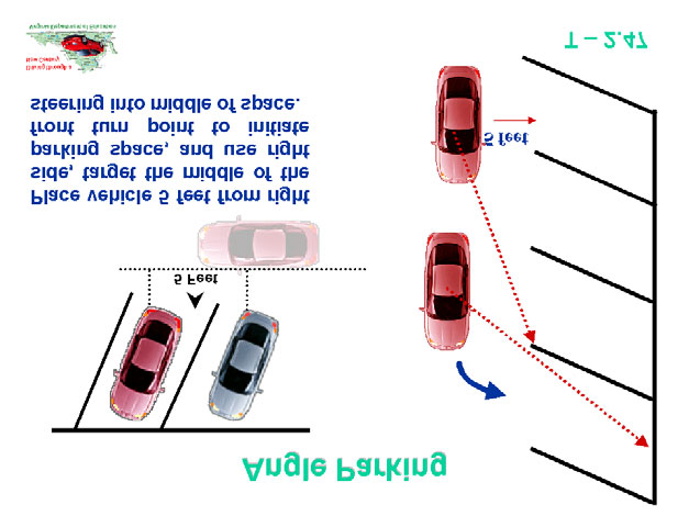 Topic: 5 Lesson: 2...continued Use Transparency T-2.47 Angle Parking to discuss setup and entry reference points for angle parking.