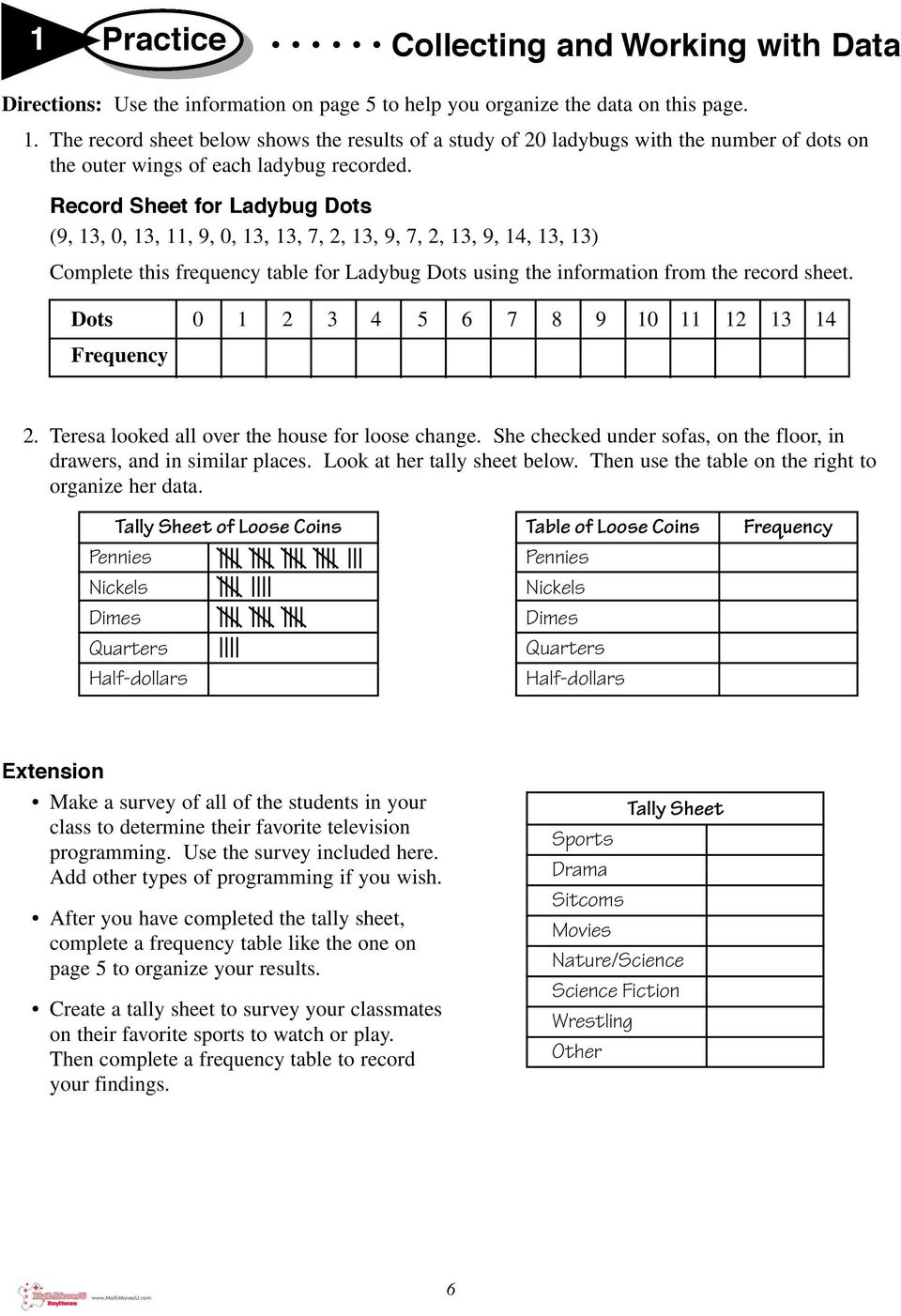 worksheet Tally Chart And Frequency Table Worksheets 1 practice collecting and working with data pdf record sheet for ladybug dots 9 13 11 9