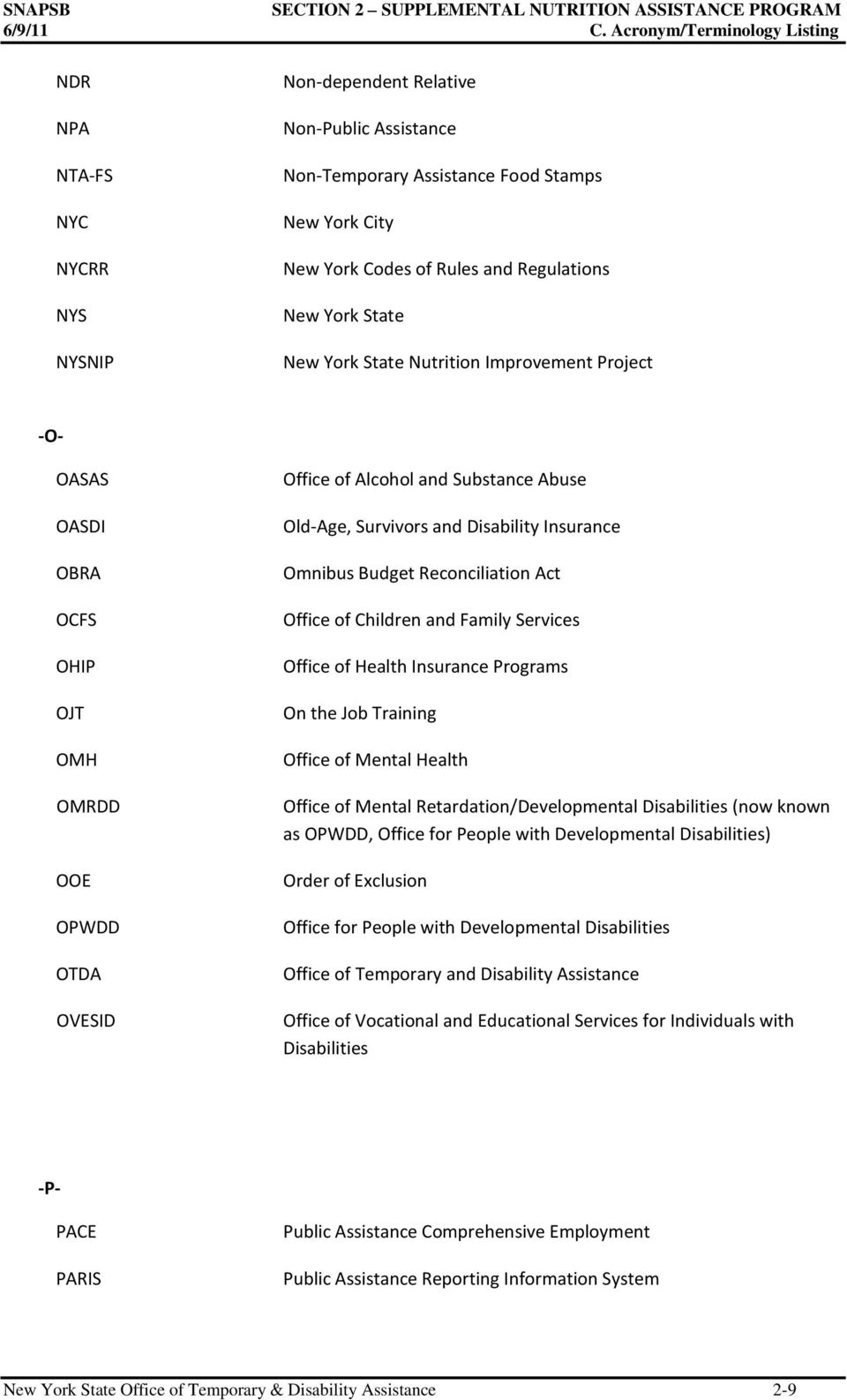 New York State New York State Nutrition Improvement Project -O- OASAS OASDI OBRA OCFS OHIP OJT OMH OMRDD OOE OPWDD OTDA OVESID Office of Alcohol and Substance Abuse Old-Age, Survivors and Disability