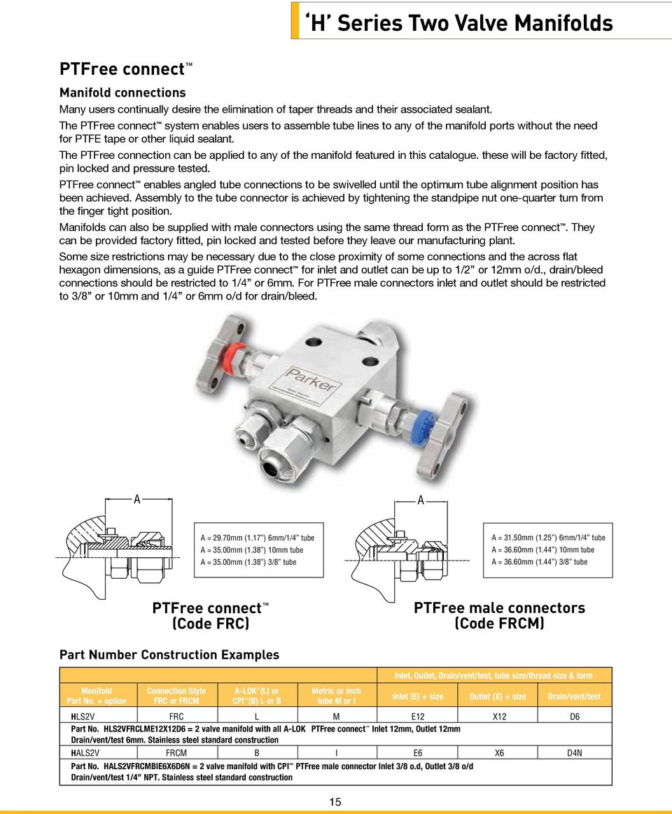 The PTFree connection can be applied to any of the manifold featured in this catalogue. these will be factory fitted, pin locked and pressure tested.