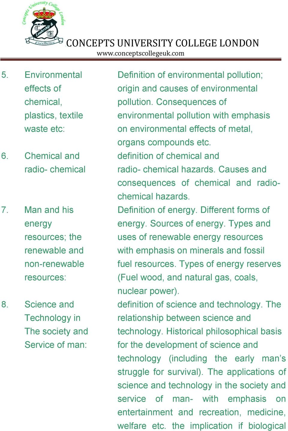 Causes and consequences of chemical and radiochemical hazards. 7. Man and his Definition of energy. Different forms of energy resources; the renewable and non-renewable resources: energy.