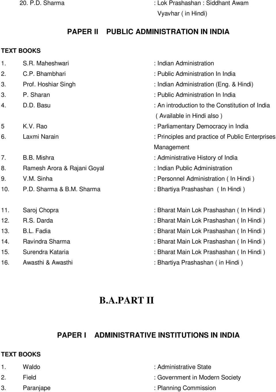 Rao : Parliamentary Democracy in India 6. Laxmi Narain : Principles and practice of Public Enterprises Management 7. B.B. Mishra : Administrative History of India 8.