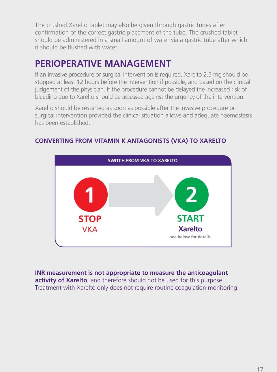 PERIOPERATIVE MANAGEMENT If an invasive procedure or surgical intervention is required, Xarelto 2.
