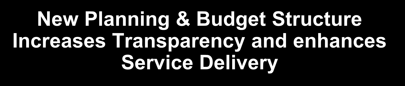 New Planning & Budget Structure Increases Transparency and enhances Service Delivery Observations Central Processing AFS Dissemination STI Facilities - A focused effort on sustaining & integrating