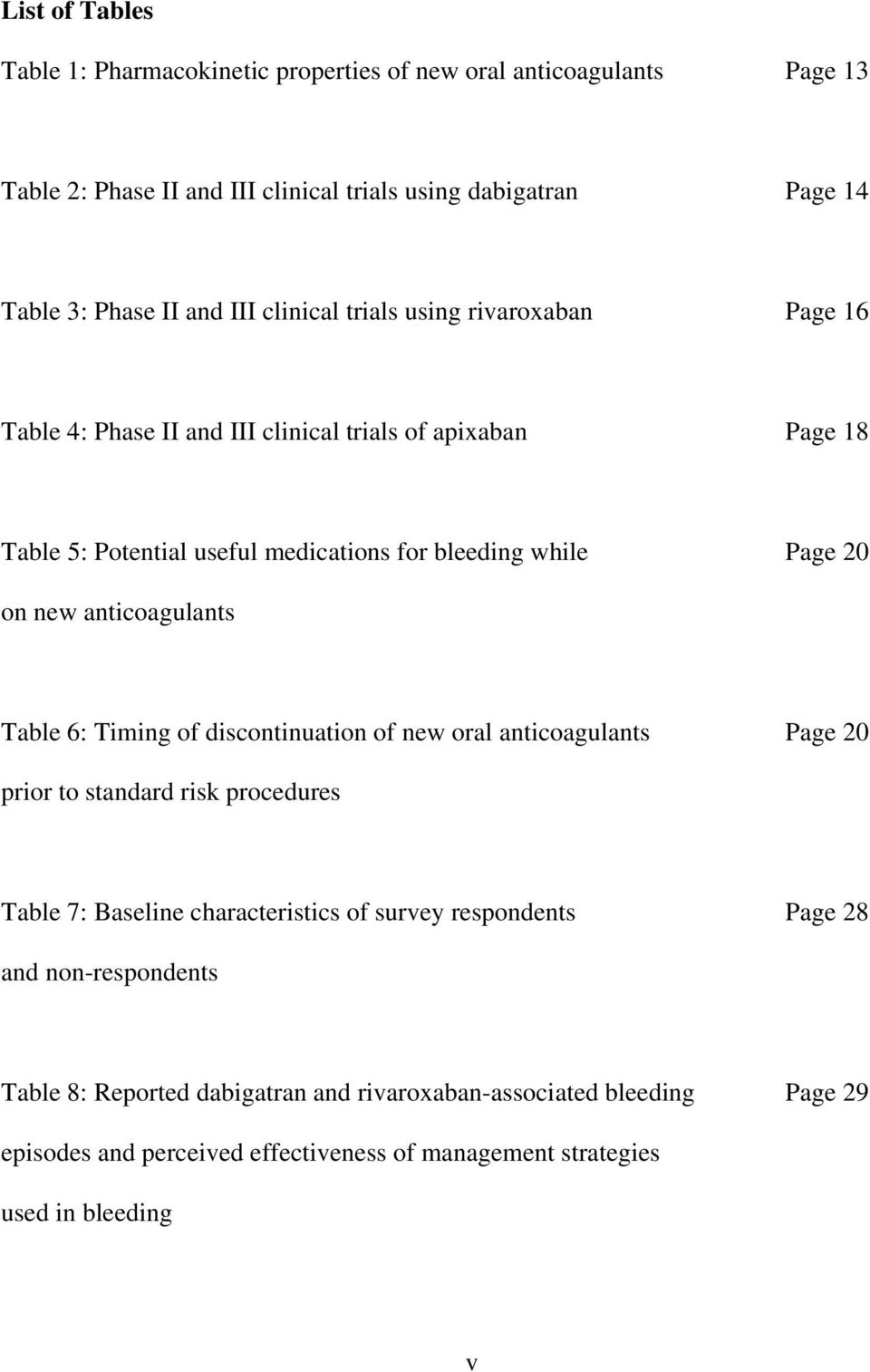 new anticoagulants Table 6: Timing of discontinuation of new oral anticoagulants Page 20 prior to standard risk procedures Table 7: Baseline characteristics of survey