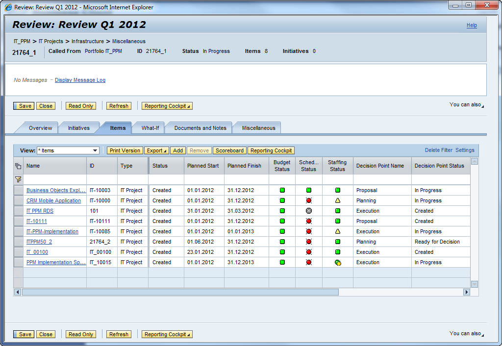 You can use IT Portfolio and Project Management (ITPPM) on SAP Solution Manager to manage the project portfolio process.