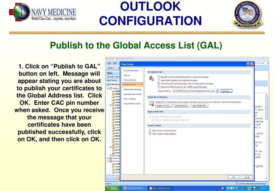 Message will appear stating you are about to publish your certificates to the Global