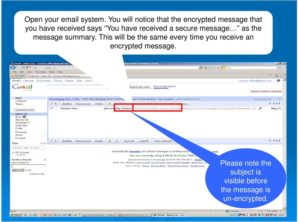 You have received a secure message as the message summary.