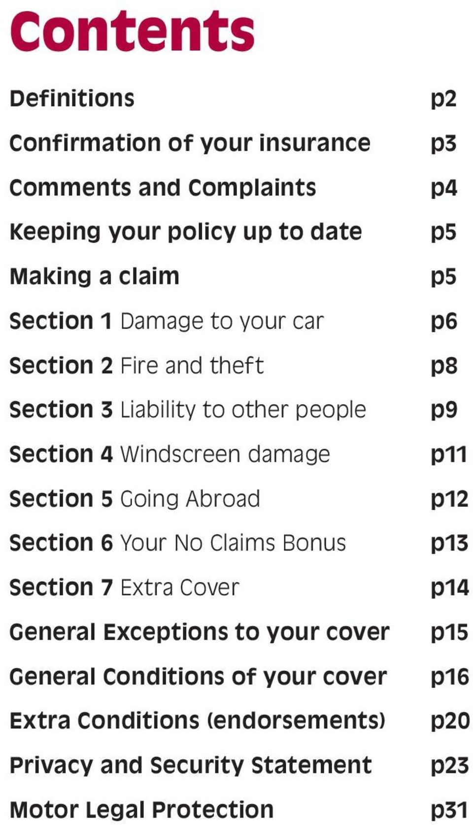 Section 6 Your No Claims Bonus Section 7 Extra Cover General Exceptions to your cover General Conditions of your cover Extra