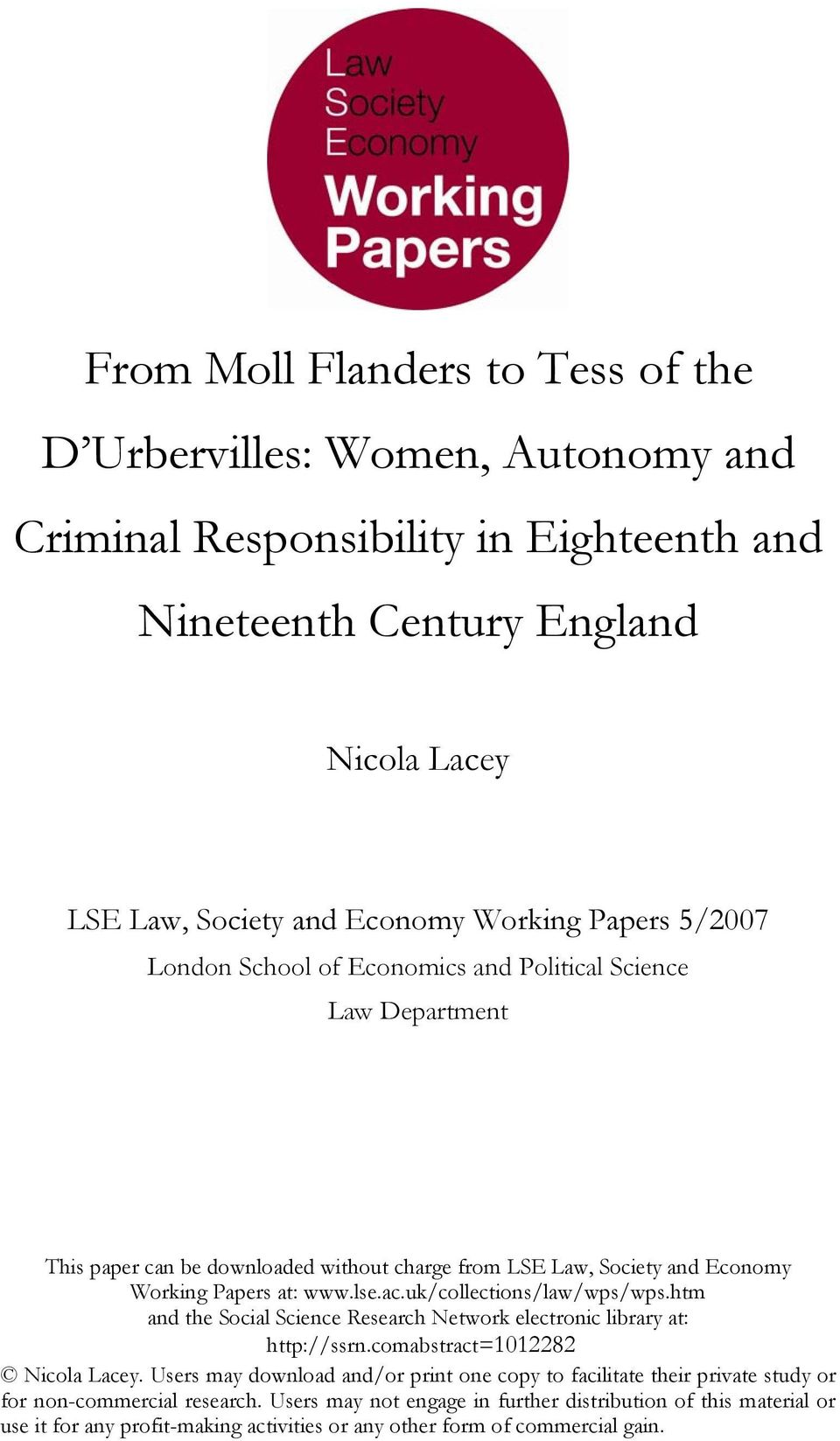 uk/collections/law/wps/wps.htm and the Social Science Research Network electronic library at: http://ssrn.comabstract=1012282 Nicola Lacey.