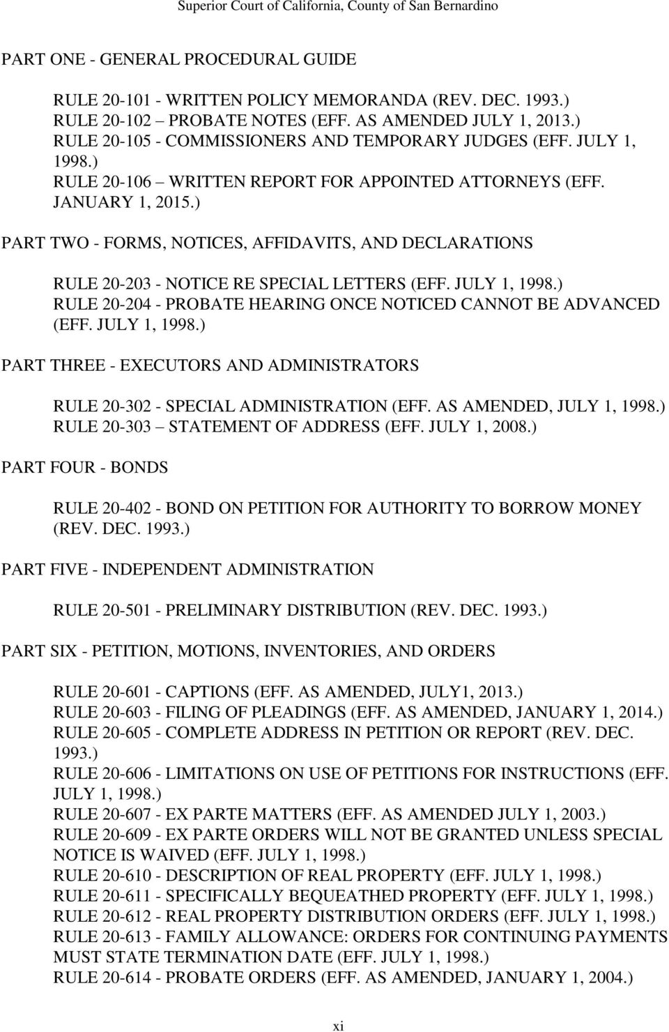 ) PART TWO - FORMS, NOTICES, AFFIDAVITS, AND DECLARATIONS RULE 20-203 - NOTICE RE SPECIAL LETTERS (EFF. JULY 1, 1998.