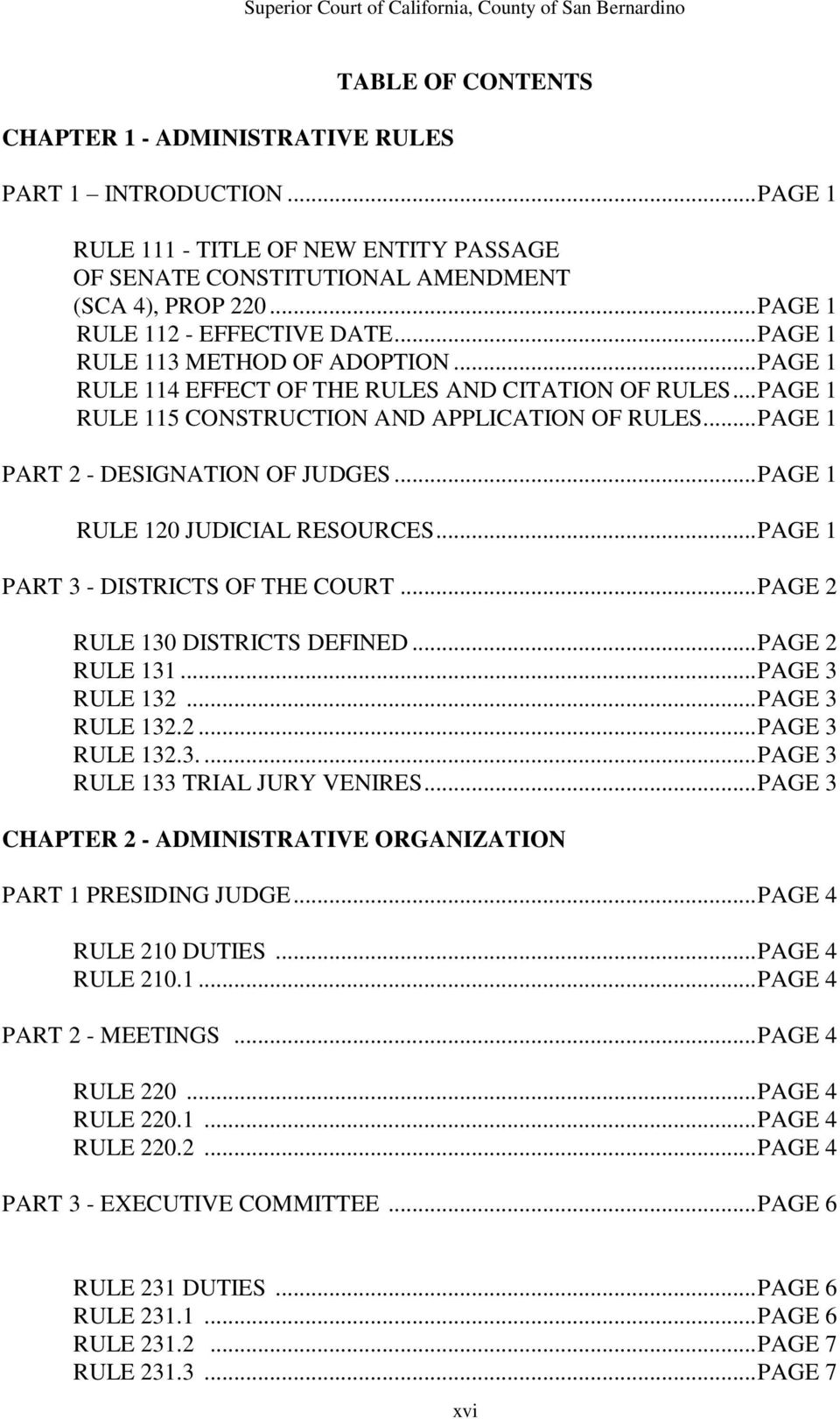.. PAGE 1 PART 2 - DESIGNATION OF JUDGES... PAGE 1 RULE 120 JUDICIAL RESOURCES... PAGE 1 PART 3 - DISTRICTS OF THE COURT... PAGE 2 RULE 130 DISTRICTS DEFINED... PAGE 2 RULE 131... PAGE 3 RULE 132.