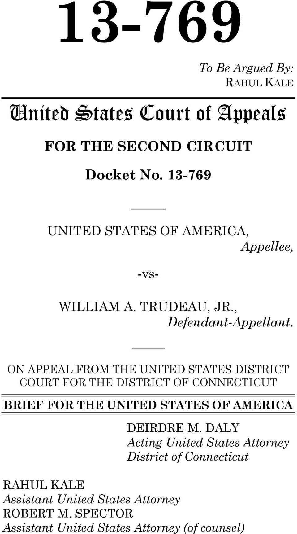 ON APPEAL FROM THE UNITED STATES DISTRICT COURT FOR THE DISTRICT OF CONNECTICUT BRIEF FOR THE UNITED STATES OF AMERICA