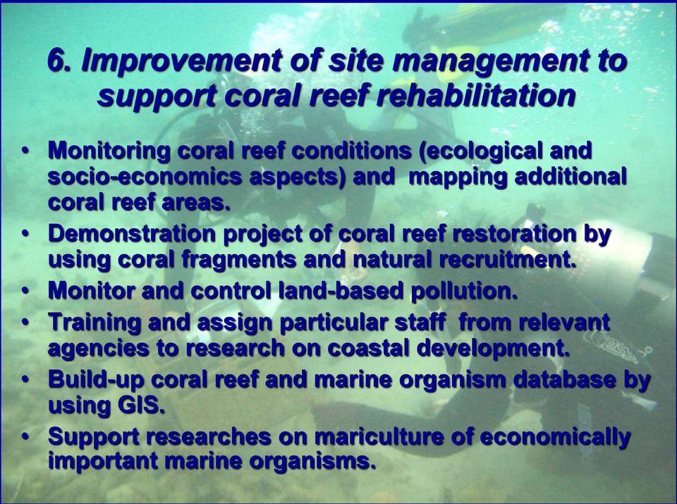Demonstration project of coral reef restoration by using coral fragments and natural recruitment. Monitor and control land-based pollution.