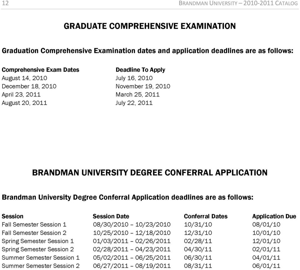 University Degree Conferral Application deadlines are as follows: Session Session Date Conferral Dates Application Due Fall Semester Session 1 08/30/2010 10/23/2010 10/31/10 08/01/10 Fall Semester