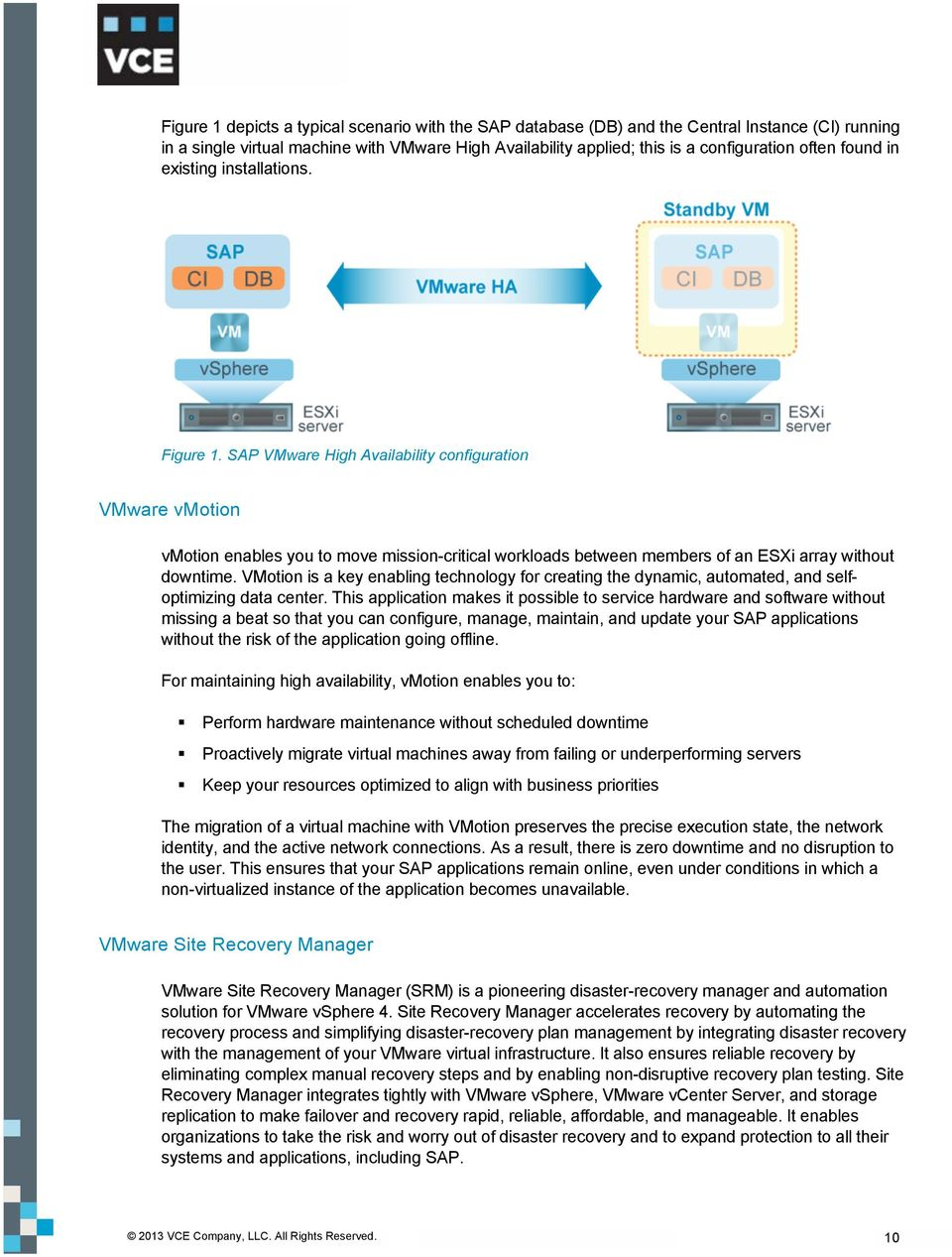 SAP VMware High Availability configuration VMware vmotion vmotion enables you to move mission-critical workloads between members of an ESXi array without downtime.