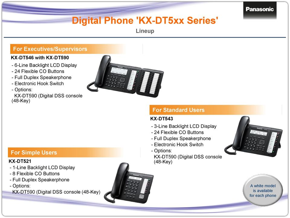 Display - 8 Flexible CO Buttons - Full Duplex Speakerphone - Options: KX-DT590 (Digital DSS console (48-Key) KX-DT543-3-Line Backlight LCD Display - 24