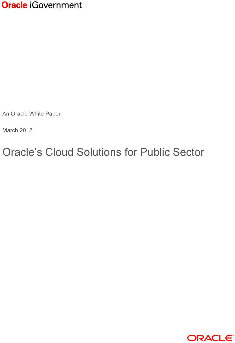 Oracle s Cloud