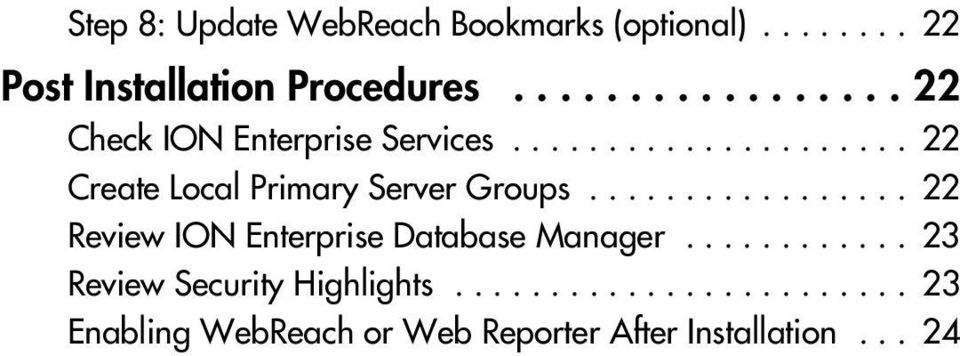 ................ 22 Review ION Enterprise Database Manager............ 23 Review Security Highlights.