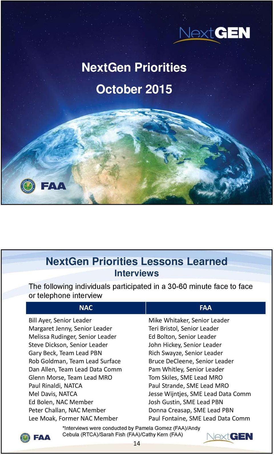 Welcome to the Meeting of the NextGen Advisory Committee - PDF