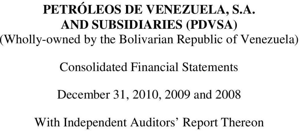 Bolivarian Republic of Venezuela) Consolidated