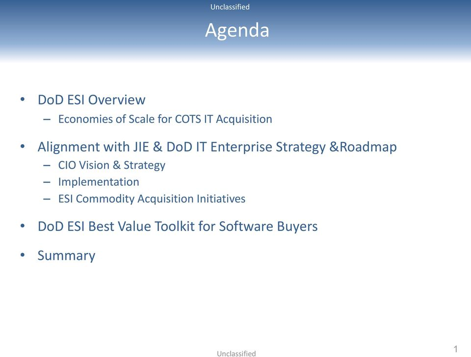 &Roadmap CIO Vision & Strategy Implementation ESI Commodity
