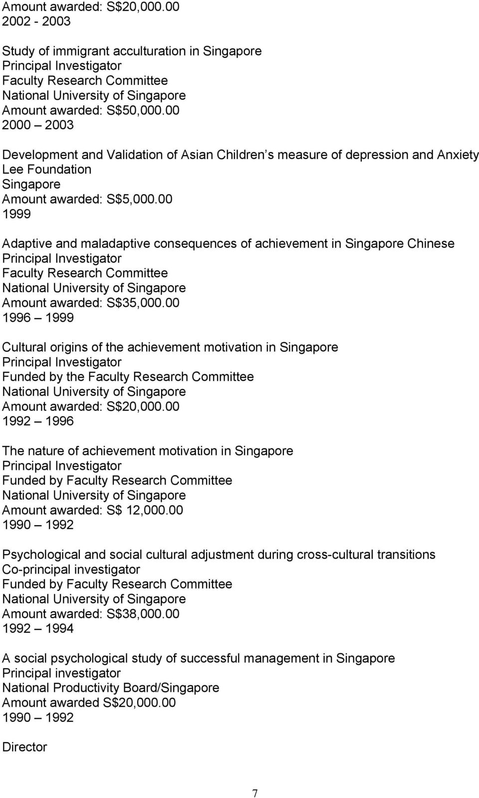 00 1999 Adaptive and maladaptive consequences of achievement in Singapore Chinese Principal Investigator Faculty Research Committee National University of Singapore Amount awarded: S$35,000.