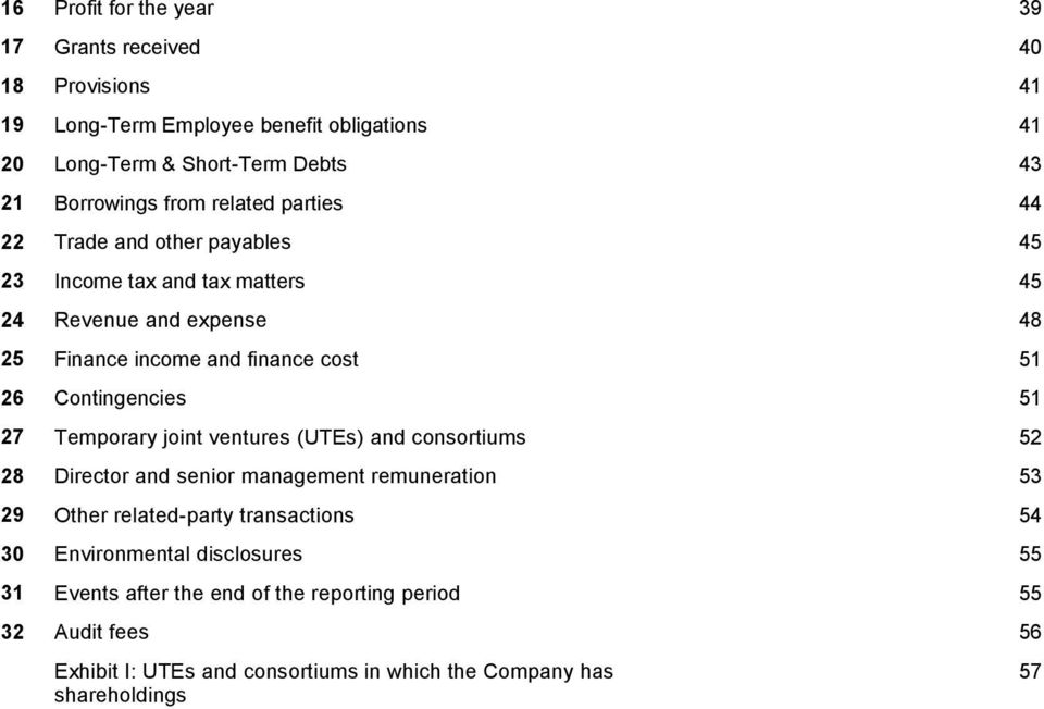 Contingencies 51 27 Temporary joint ventures (UTEs) and consortiums 52 28 Director and senior management remuneration 53 29 Other related-party transactions 54