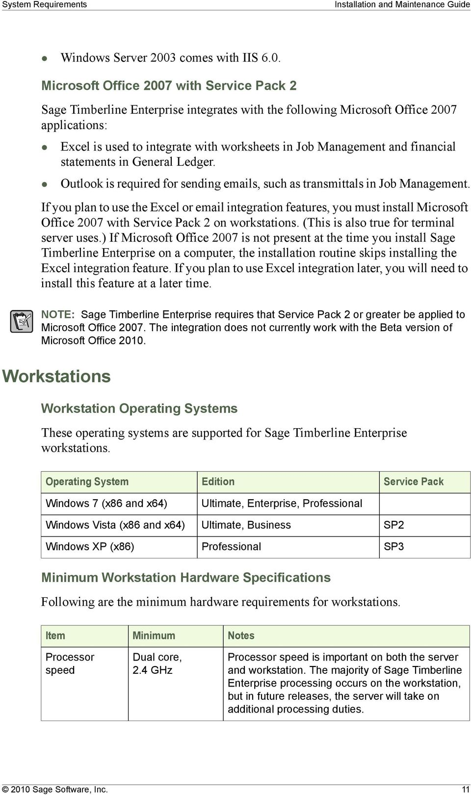 Microsoft Office 2007 with Service Pack 2 Sage Timberline Enterprise integrates with the following Microsoft Office 2007 applications: Excel is used to integrate with worksheets in Job Management and
