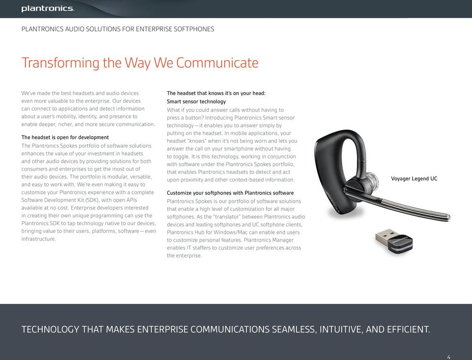 The headset is open for development The Plantronics Spokes portfolio of software solutions enhances the value of your investment in headsets and other s by providing solutions for both consumers and