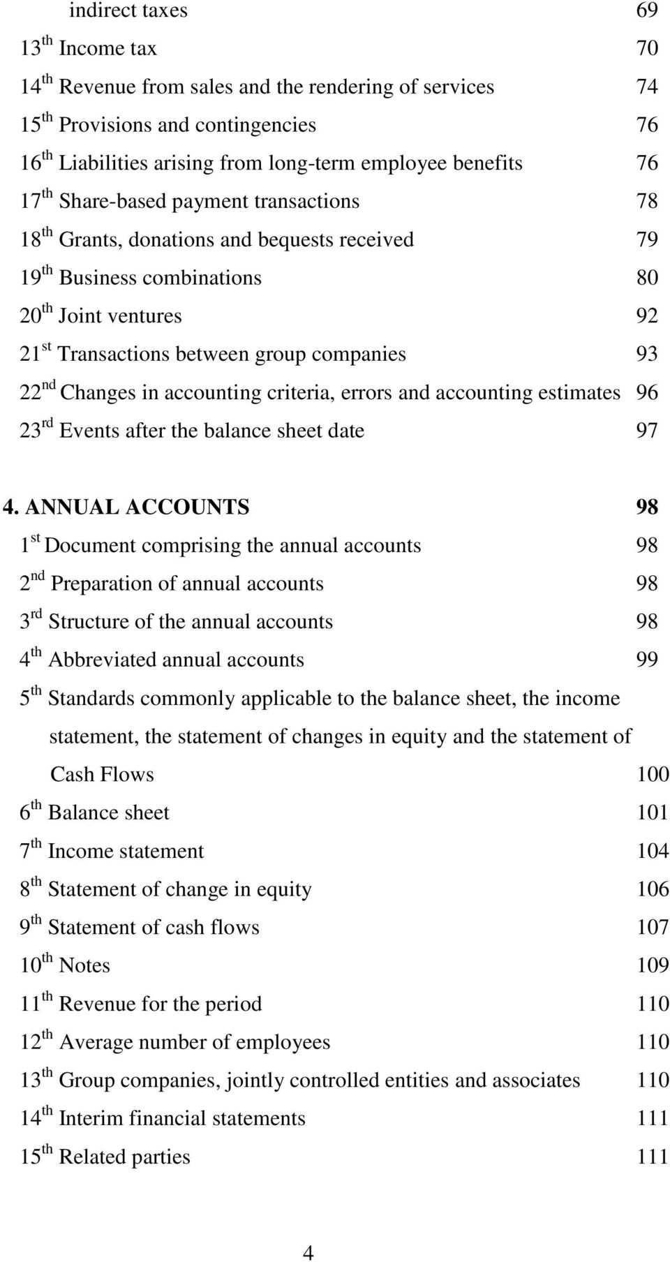 Changes in accounting criteria, errors and accounting estimates 96 23 rd Events after the balance sheet date 97 4.