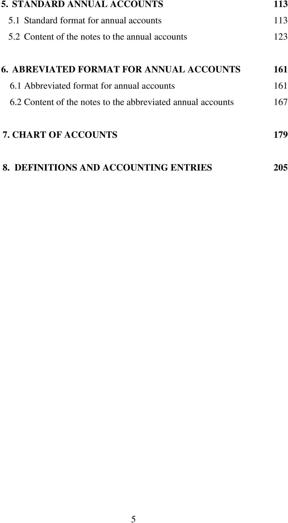 ABREVIATED FORMAT FOR ANNUAL ACCOUNTS 161 6.