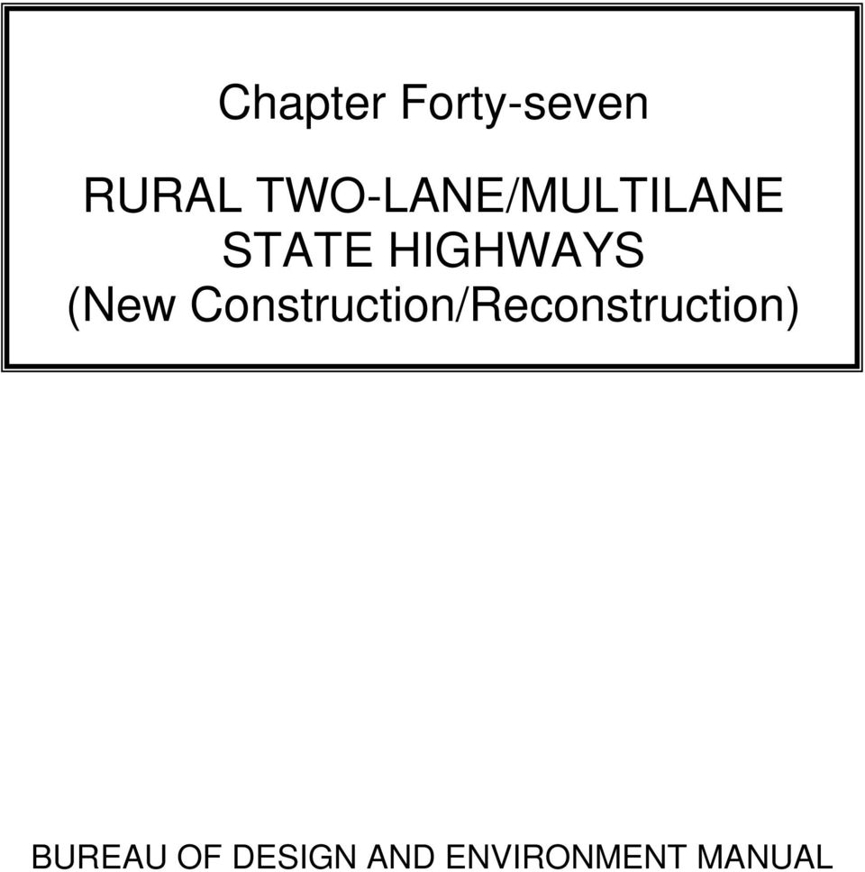 (New Construction/Reconstruction)