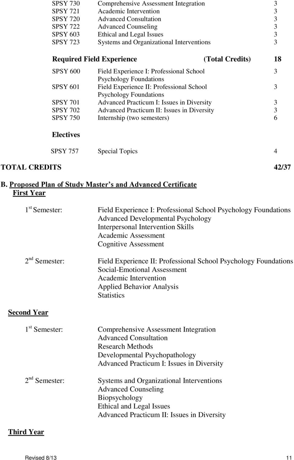 School 3 Psychology Foundations SPSY 701 Advanced Practicum I: Issues in Diversity 3 SPSY 702 Advanced Practicum II: Issues in Diversity 3 SPSY 750 Internship (two semesters) 6 Electives SPSY 757