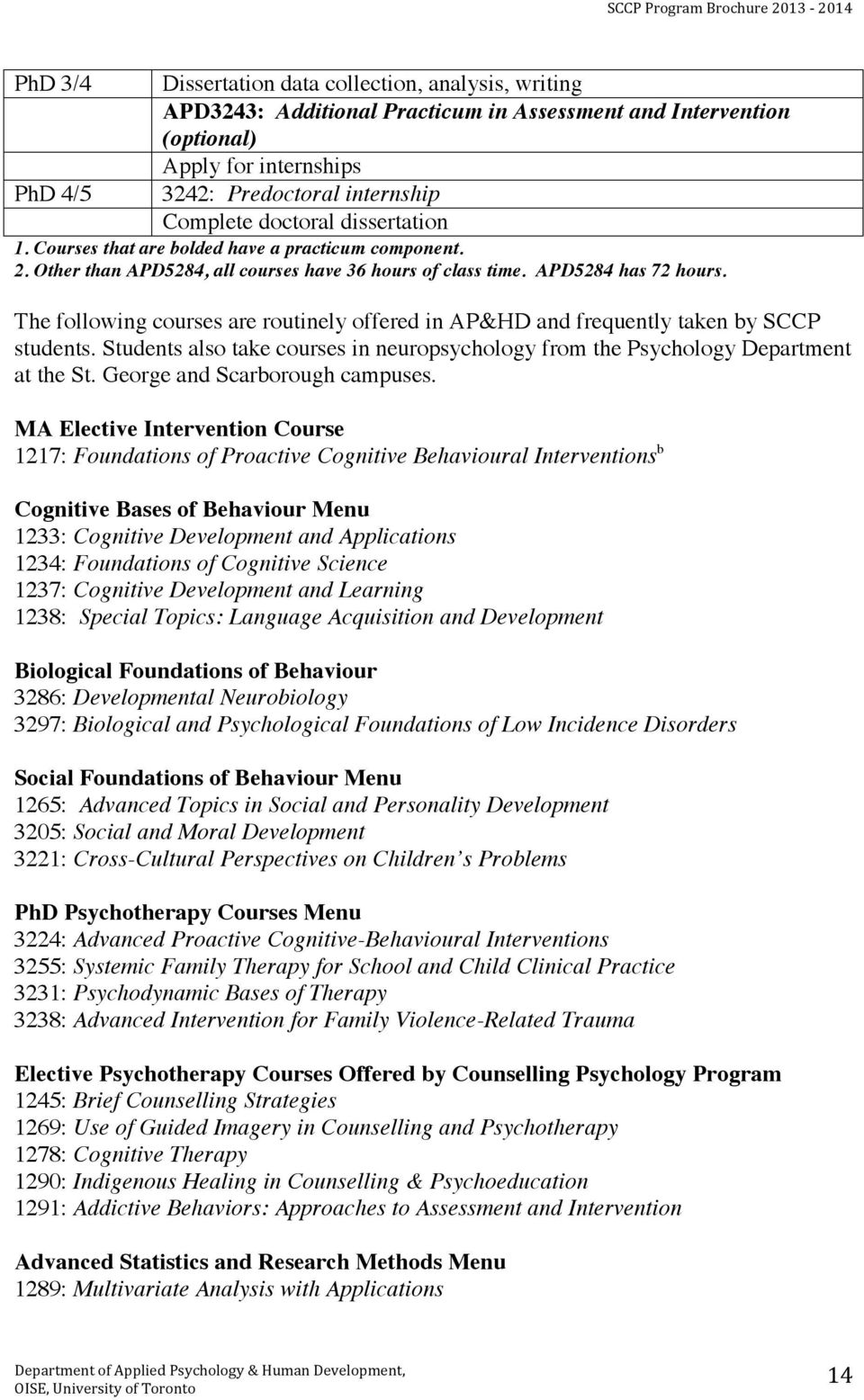 The following courses are routinely offered in AP&HD and frequently taken by SCCP students. Students also take courses in neuropsychology from the Psychology Department at the St.