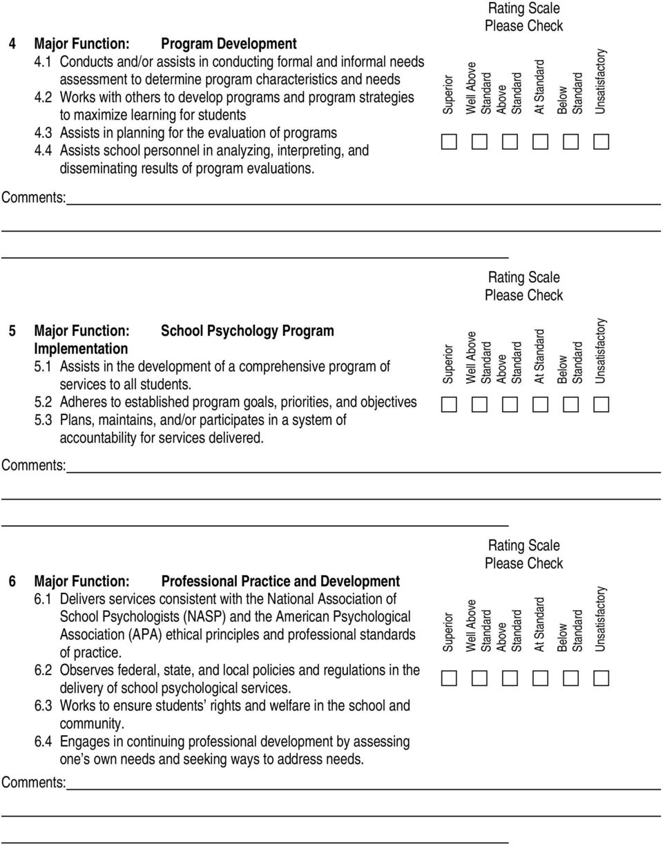 4 Assists school personnel in analyzing, interpreting, and disseminating results of program evaluations. Well At 5 Major Function: School Psychology Program Implementation 5.