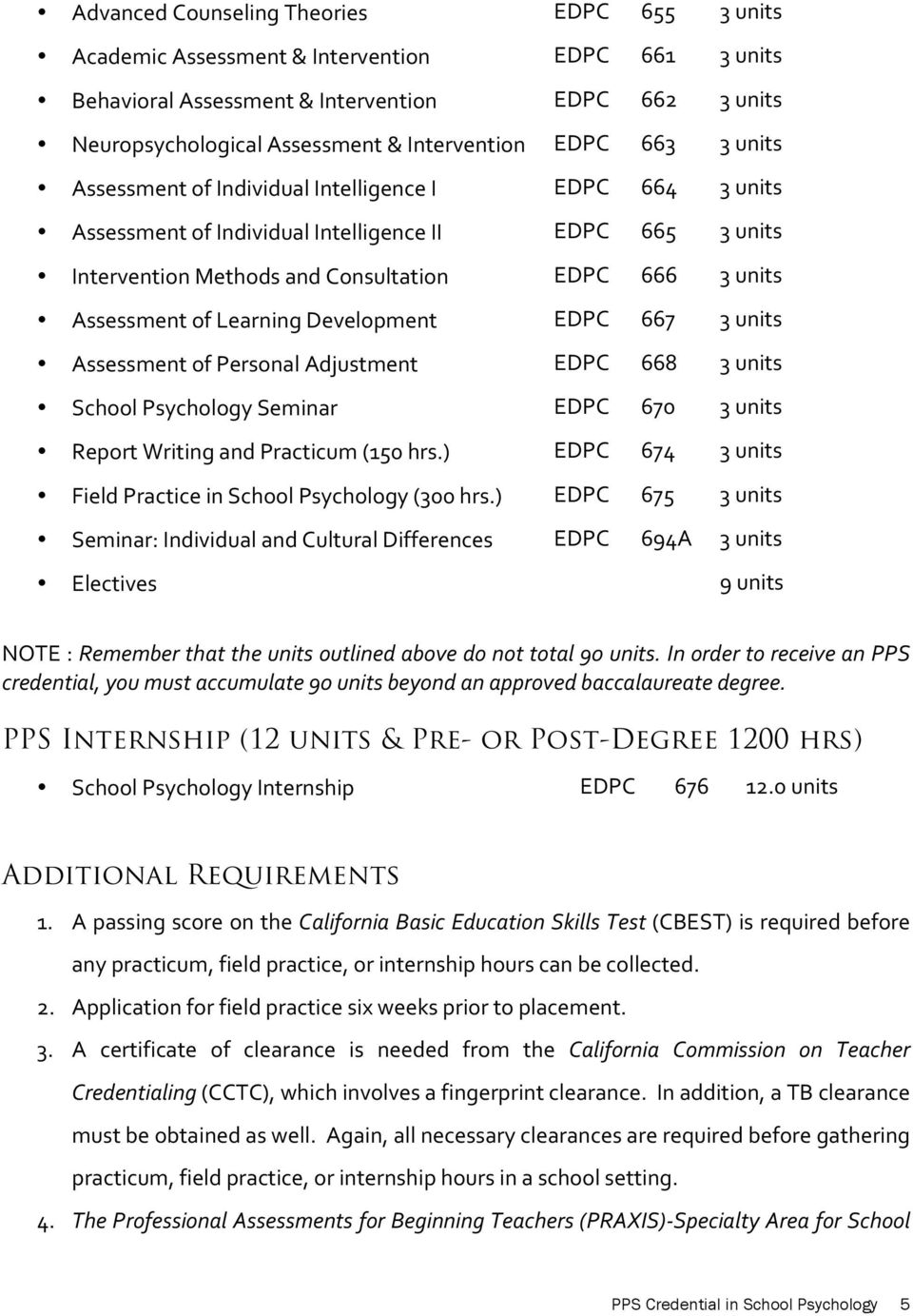 of Learning Development EDPC 667 3 units Assessment of Personal Adjustment EDPC 668 3 units School Psychology Seminar EDPC 670 3 units Report Writing and Practicum (150 hrs.