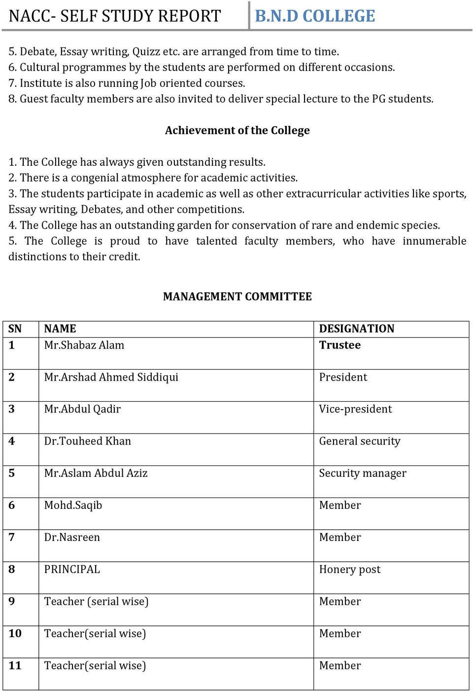 b n degree college sahabad hardoi self study report pdf there is a congenial atmosphere for academic activities 3