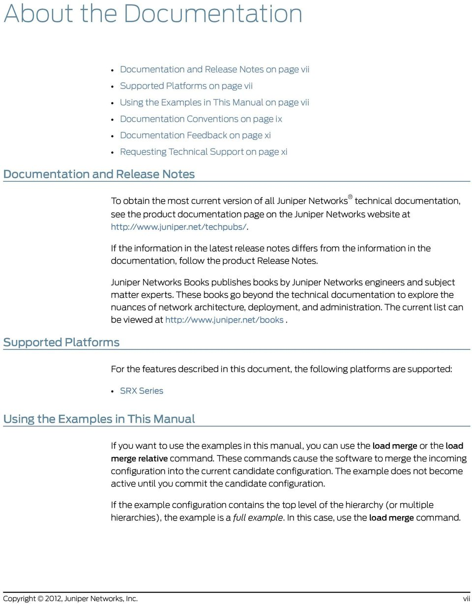 product documentation page on the Juniper Networks website at http://www.juniper.net/techpubs/.