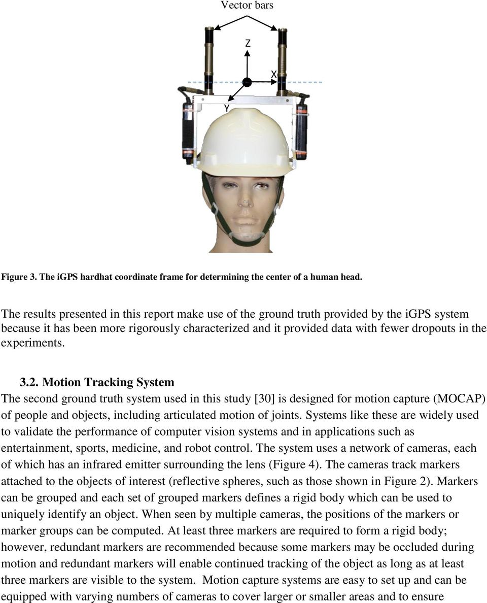 experiments. 3.2. Motion Tracking System The second ground truth system used in this study [30] is designed for motion capture (MOCAP) of people and objects, including articulated motion of joints.