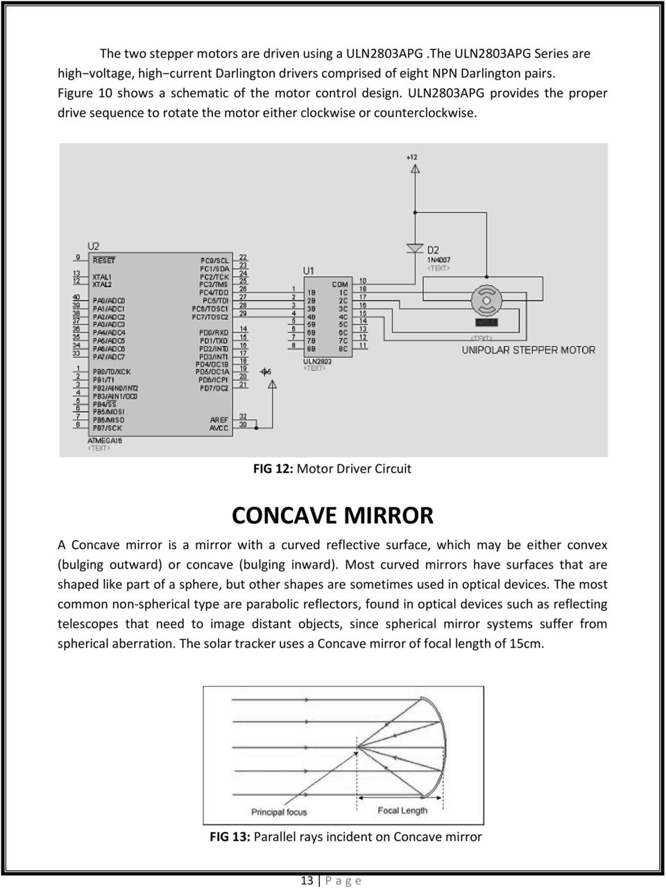 FIG 12: Motor Driver Circuit CONCAVE MIRROR A Concave mirror is a mirror with a curved reflective surface, which may be either convex (bulging outward) or concave (bulging inward).