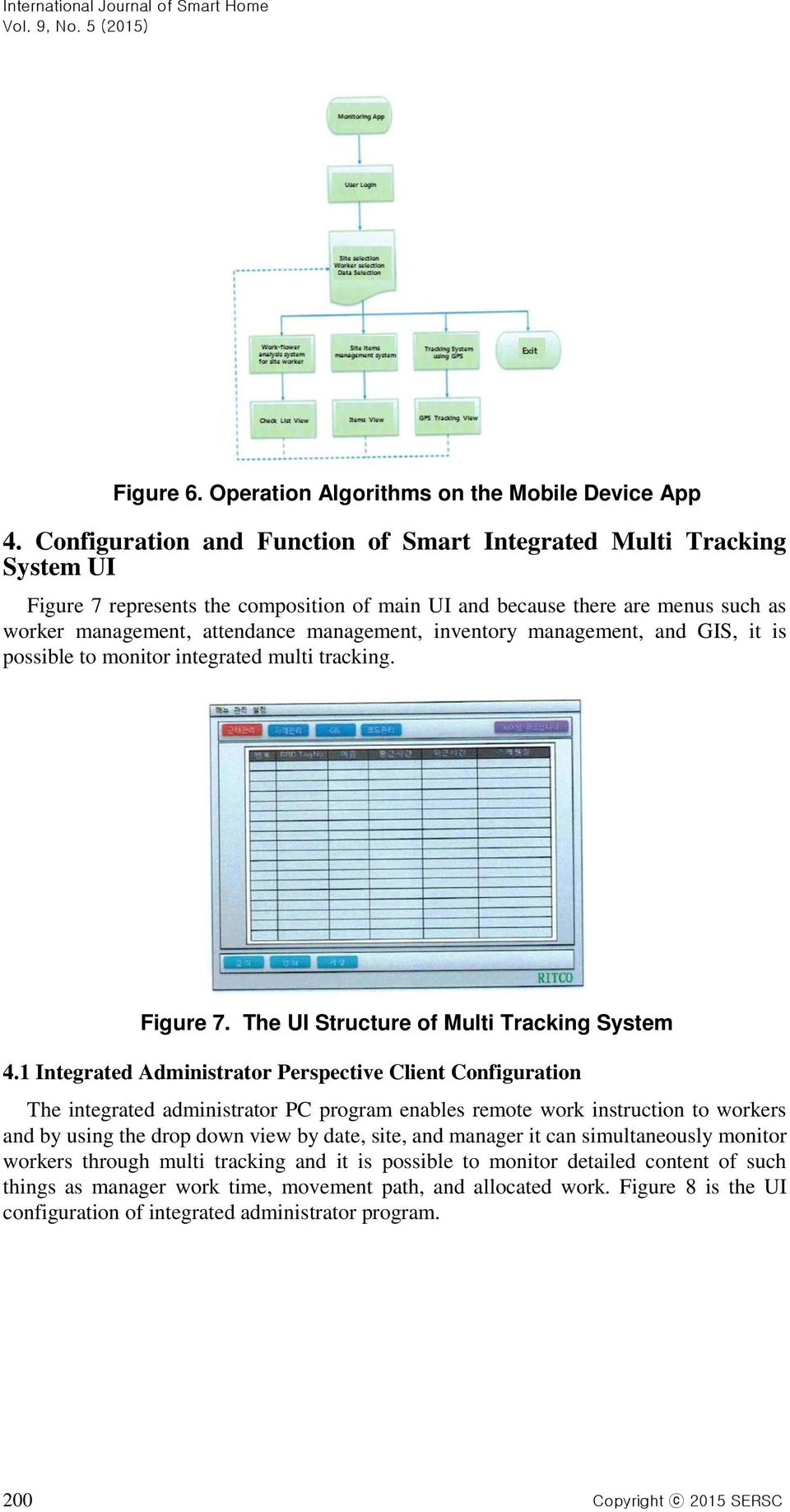inventory management, and GIS, it is possible to monitor integrated multi tracking. Figure 7. The UI Structure of Multi Tracking System 4.