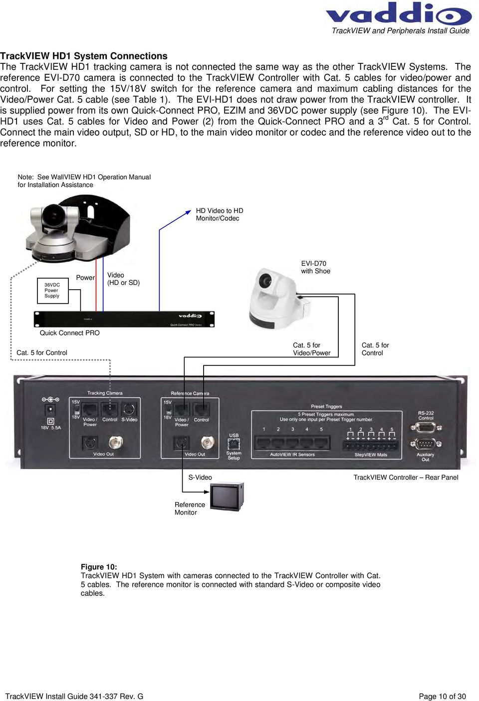 For setting the 15V/18V switch for the reference camera and maximum cabling distances for the Video/Power Cat. 5 cable (see Table 1). The EVI-HD1 does not draw power from the TrackVIEW controller.