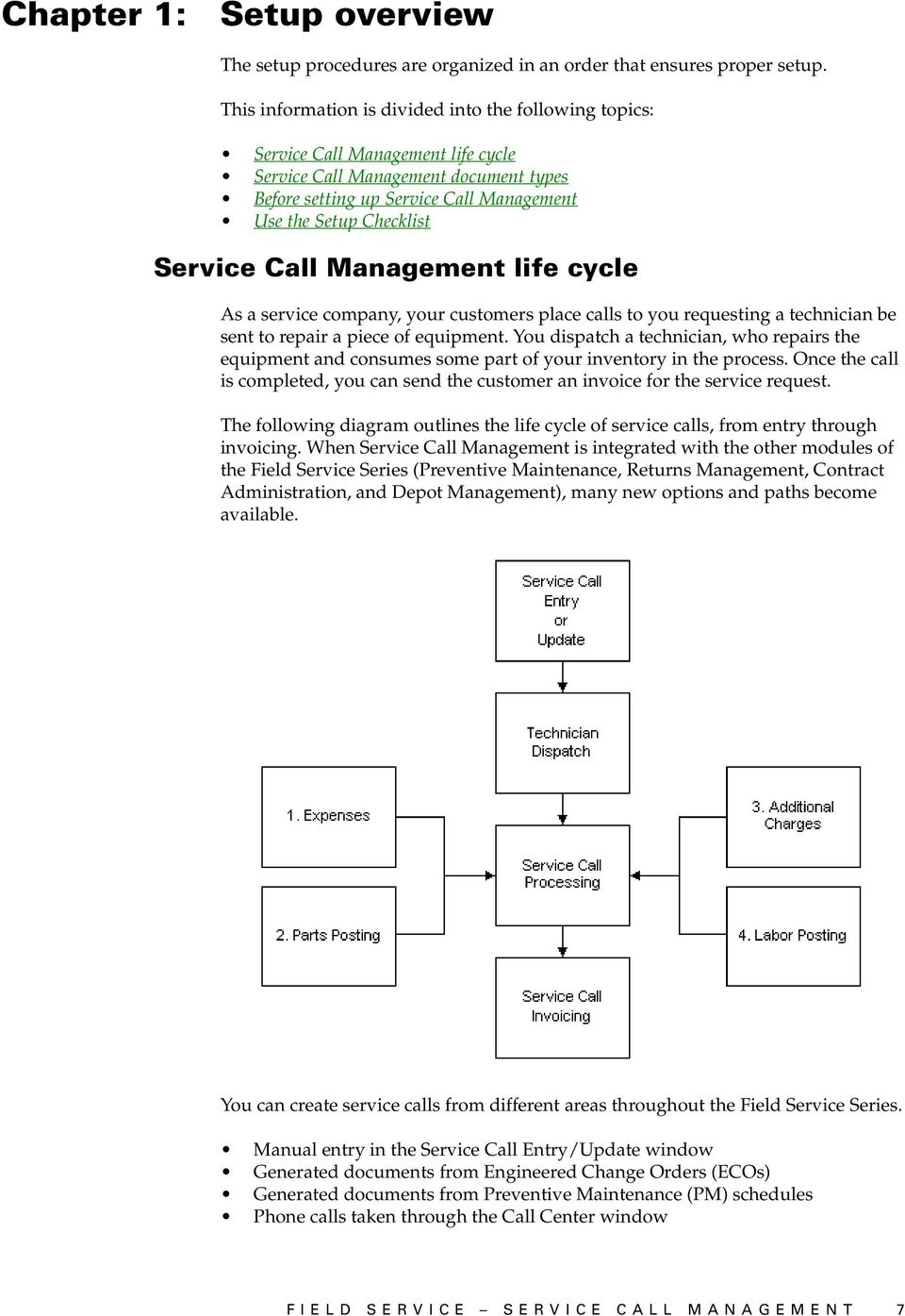 Service Call Management life cycle As a service company, your customers place calls to you requesting a technician be sent to repair a piece of equipment.