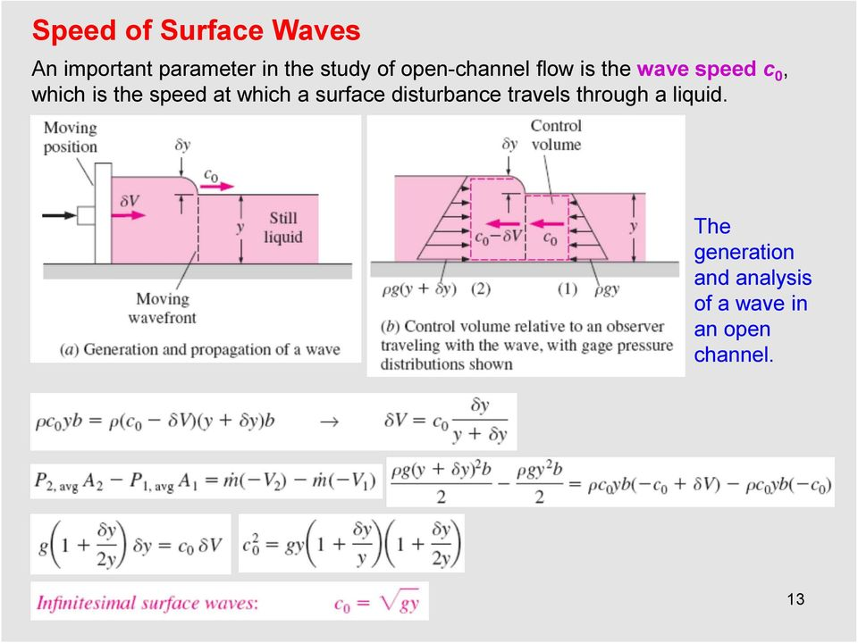 speed at which a surface disturbance travels through a