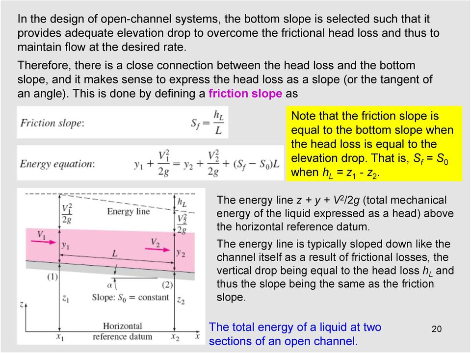 This is done by defining a friction slope as Note that the friction slope is equal to the bottom slope when the head loss is equal to the elevation drop. That is, S f = S 0 when h L = z 1 - z 2.