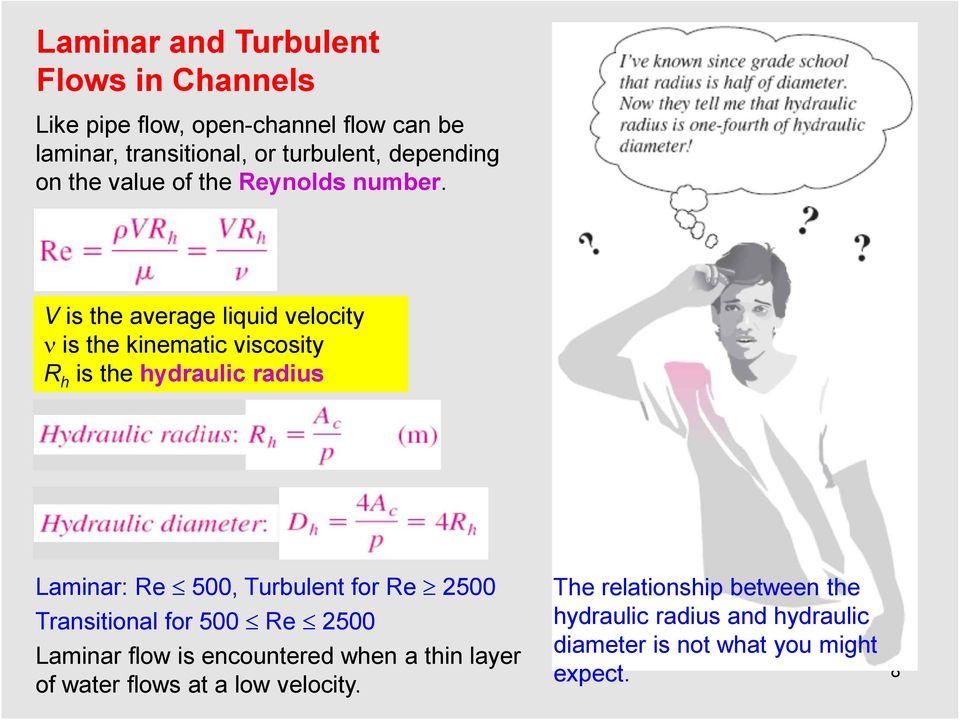 V is the average liquid velocity n is the kinematic viscosity R h is the hydraulic radius Laminar: Re 500, Turbulent for Re ³