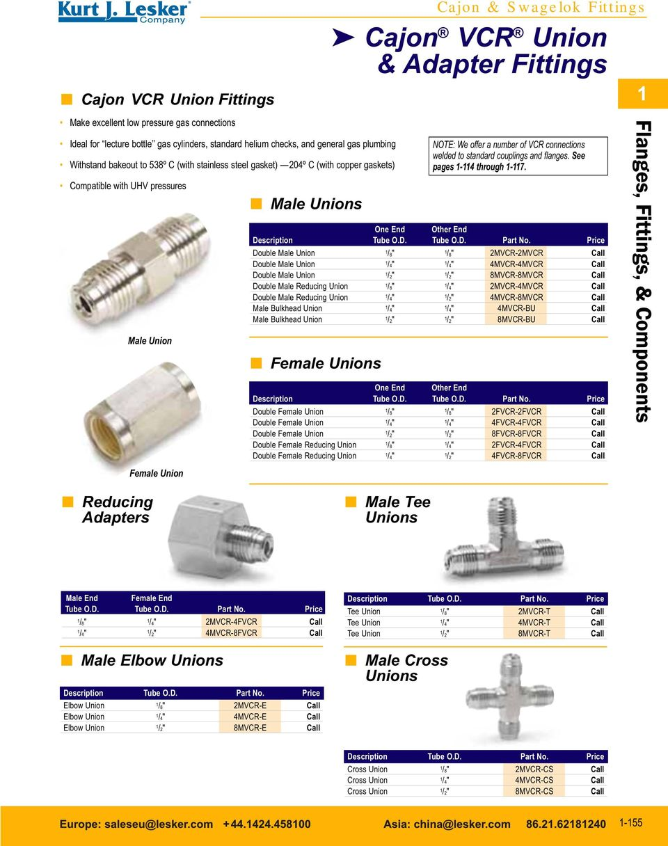We offer a number of VCR connections welded to standard couplings and flanges. See pages -4 through -7. One End Other End De